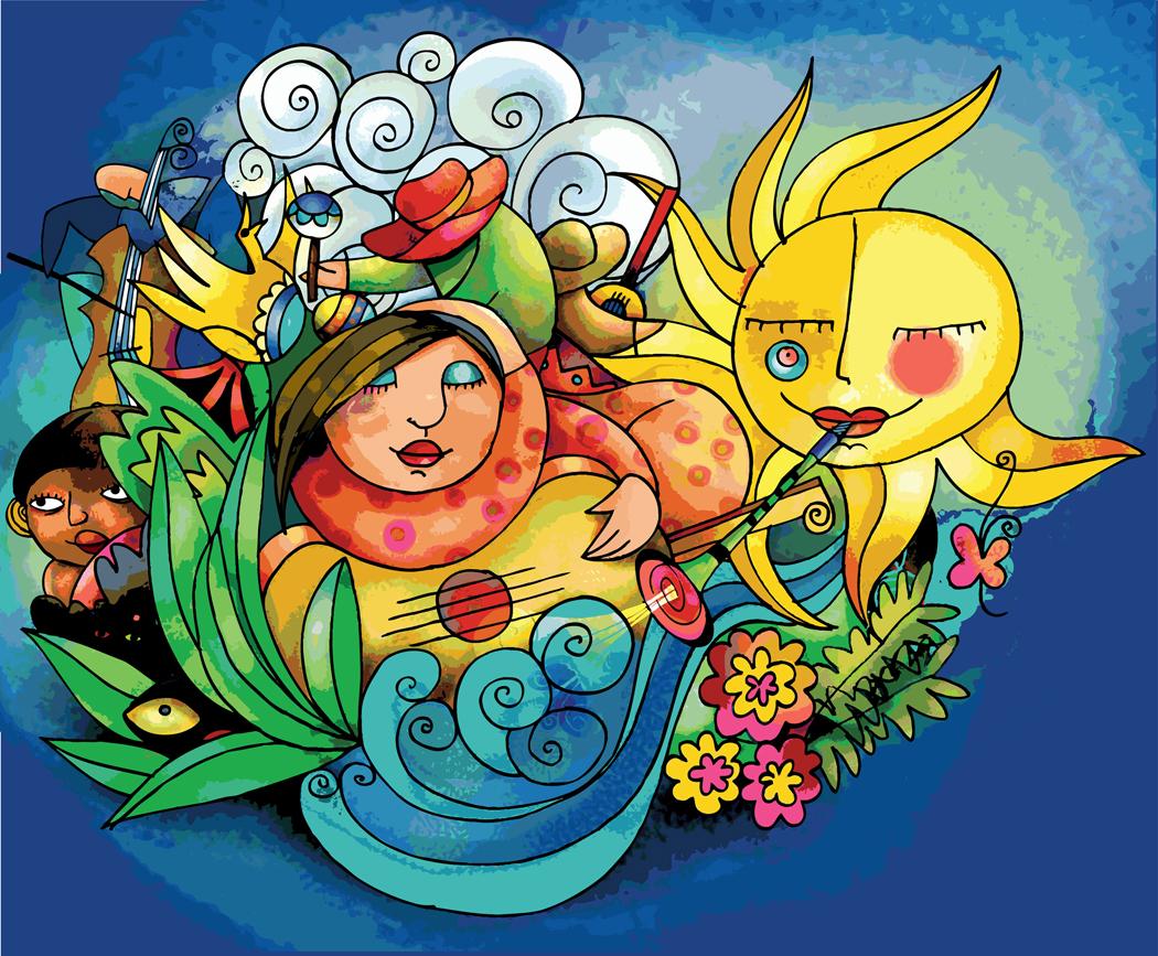 Summer fun art collage
